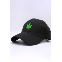 New Trendy Color Block Leaf Embroidered Unisex Baseball Cap