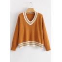 New Stylish Color Block Striped Trim V-Neck Drop Sleeve Pullover Sweater