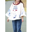Princess Style Cartoon Cat Pattern Cashmere Hem Warm Cape Coat with Hood