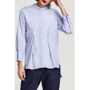 Stand-Up Collar Long Sleeve Fashion Pearl Embellished Buttons Down Plain Shirt