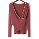 Fashion Pearl Embellished Crosses V Neck Long Sleeve Slim Sweater