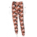 New Stylish Color Block Elastic Ankle Detail Pull-On Pants