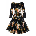 New Stylish Vintage Print Round Neck Long Sleeve Fit & Flare Dress