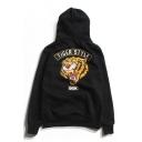 Color Block Tiger Head Printed Long Sleeve Hoodie