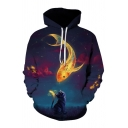 New Stylish 3D Cat Fish Print Drawstring Hood Long Sleeve Pocket Unisex Hoodie