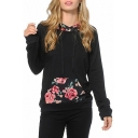 New Fashion Floral Pattern Long Sleeve Hoodie