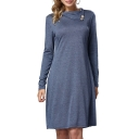 New Fashion Plian Buttons Embellished Folded Collar Long Sleeve Shift Mini Dress