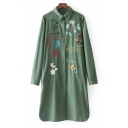 Fashion Embroidery Floral Pattern Single Breasted Lapel Collar Tunic Coat