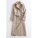 Simple Plain Belted Waist Notched Lapel Double Breasted Tunic Coat