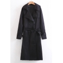 fashion Double Breasted Belted Waist Notched Collar Plain Tunic Coat