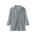 Fashion Classic Striped Printed V Neck Long Sleeve Pullover Blouse