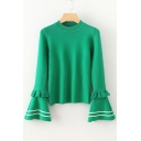 Round Neck Long Sleeve Fashion Flared Cuff Striped Printed Sweater