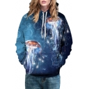 Fashion Galaxy Jellyfish Pattern Long Sleeve Casual Loose Unisex Hoodie