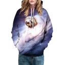 Hot Fashion Galaxy Coala Pattern Long Sleeve Basic Sports Unisex Hoodie