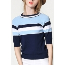 New Arrival Fashion Striped Pattern Round Neck Short Sleeve Sweater