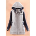 Fashion Letter Print Drawstring Hood Raglan Sleeve Ribbed Cuff Zip Front Pocket Coat