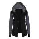 Color Block Panel Single Breasted Hooded Long Sleeve Baseball Coat