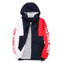 Chic Letter Print Color Block Zipper Long Sleeve Loose Unisex Hooded Coat