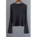 Simple Plain Round Neck Raglan Sleeve Flared Cuff Contrast Trim Pullover Sweater