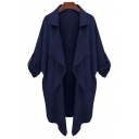 New Arrival Lapel Waterfall Front Plain Trench Coat