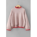 Fashion Color Block Mock Neck Long Sleeve Casual Leisure Comfort Sweater
