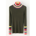 High Neck Color Block Striped Pattern Hem Long Sleeve Comfort Slim Sweater