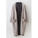 Basic Plain Colarless Long Sleeve Longline Cardigan with Pockets