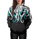 Color Block Octopus Pattern Long Sleeve Loose Pullover Hoodie