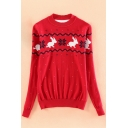 Fashion Animal Print Polka Dot Round Neck Long Sleeve Pullover Sweater