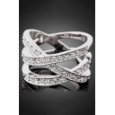 New Fashion Simple Hollow Out Diamond Studded Ring