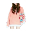 Color Block Striped Side Heart Embroidered Longline Long Sleeve Hoodie