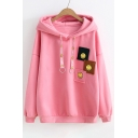 Chic Happy Face Patchwork Drawstring Hood Drop Sleeve Hoodie