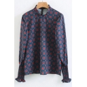 Geometric Pattern Round Neck Long Sleeve Casual Loose Pullover Blouse