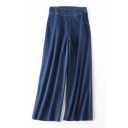 New Arrival Zip Up Side High Waist Simple Plain Loose Wide Legs Jeans
