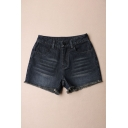 Dark Wash Raw Hem Zipper Fly Hot Denim Shorts