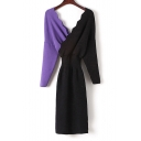 Double V Neck Long Sleeve Color Block Chic Elegant Midi Knit Dress