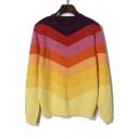Color Block Rainbow Chevron Pattern Round Neck Long Sleeve Sweater