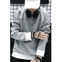 New Fashion Simple Color Block Scratch Print Long Sleeve Pullover Sweatshirt