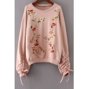 Chic Floral Embroidered Drawstring Side Long Sleeve Pullover Sweatshirt
