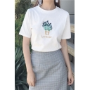 Chic Plant Embroidered Round Neck Short Sleeve Tee