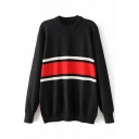 Fashion Color Block Striped Print Round Neck Long Sleeve Pullover Sweater