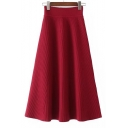 Fashion High Waist Simple Plain Midi A-Line Kitted Skirt