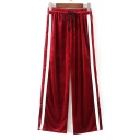 New Stylish Striped Side Elastic Waist Leisure Wide Leg Pants
