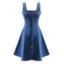 New Stylish Gathered Waist Single Breasted Denim Mini Cami Dress