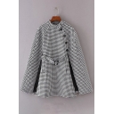 Classic Plaid Stand-Up Collar Belted Waist Button Side Tunic Cape