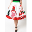Hot Fashion Snowman Santa Claus Printed High Rise Midi Flared Skirt