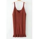 New Arrival Basic Simple Plain V Neck Fashion Ruffle Hem Mini Knit Dress