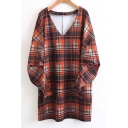 Classic Plaids Pattern V Neck Puff Long Sleeve Mini Shift Dress