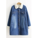 Winter's Fashion Contrast Lapel Collar Long Sleeve Buttons Down Denim Coat