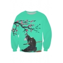 Color Block Floral Ninja Print Long Sleeve Sweatshirt